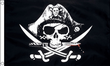 3ft x 2ft Fabric Medium Pirate Ship Jolly Roger Skull and Cross Sabres Flag